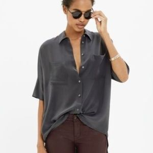 Madewell Gray Boxy Silk Courier Top B0948 Sz S